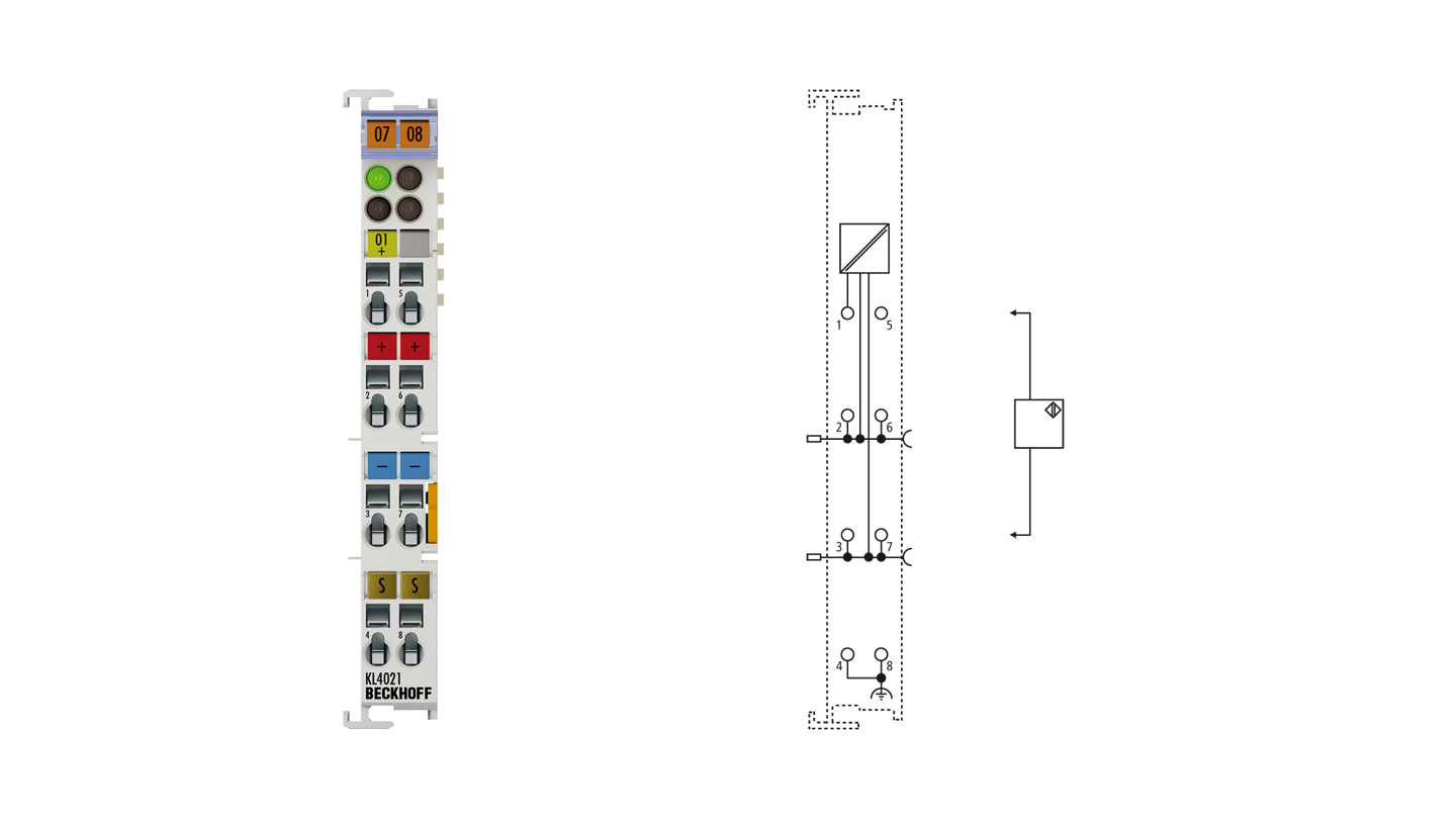 KL4021 | Bus Terminal, 1-channel analog output, voltage, 4…20mA, 12bit, single-ended