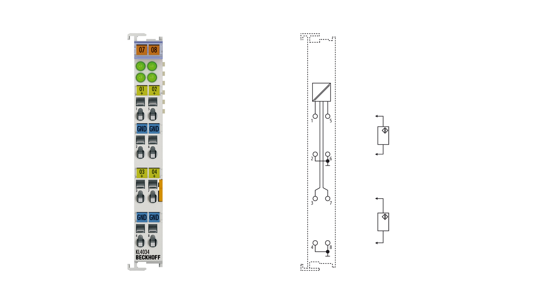 KL4034 | 4-channel analog output terminal -10…+10V