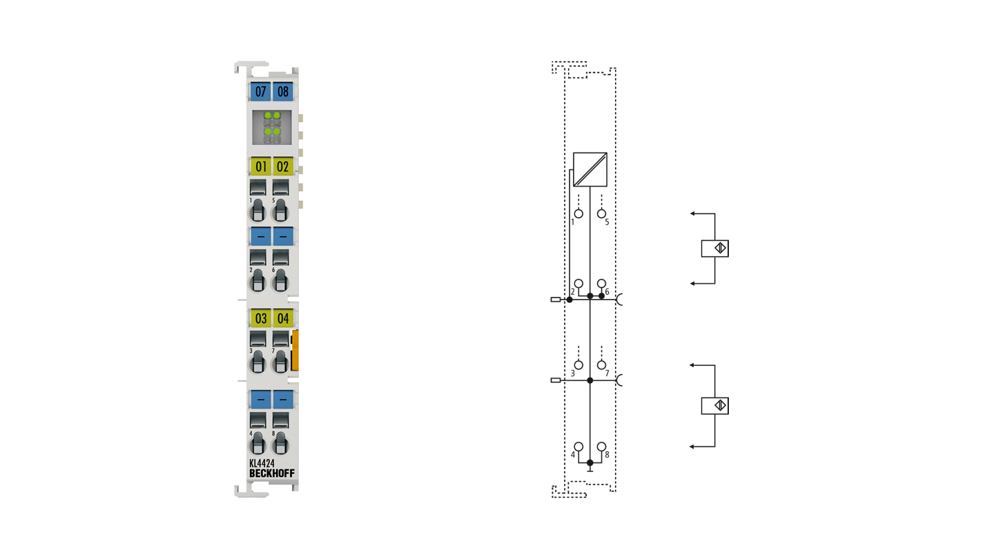 KL4424 | Bus Terminal, 4-channel analog output, voltage, 4…20mA, 12bit, single-ended