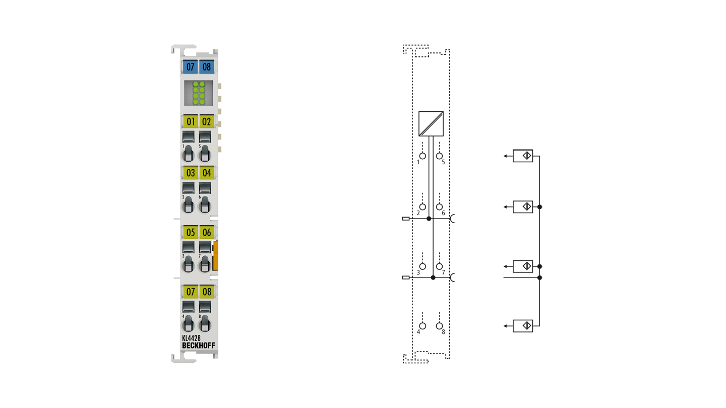KL4428   Bus Terminal, 8-channel analog output, current, 4…20mA, 12bit, single-ended