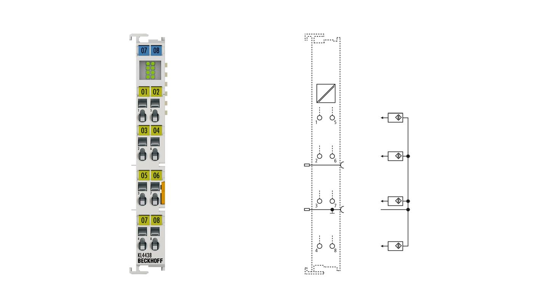KL4438 | Bus Terminal, 8-channel analog output, voltage, ±10V, 12bit, single-ended