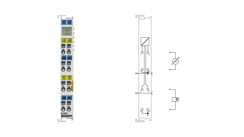 KL4494 | 2-Kanal-Analog-Eingangs-, 2-Kanal-Analog-Ausgangsklemme -10…+10V