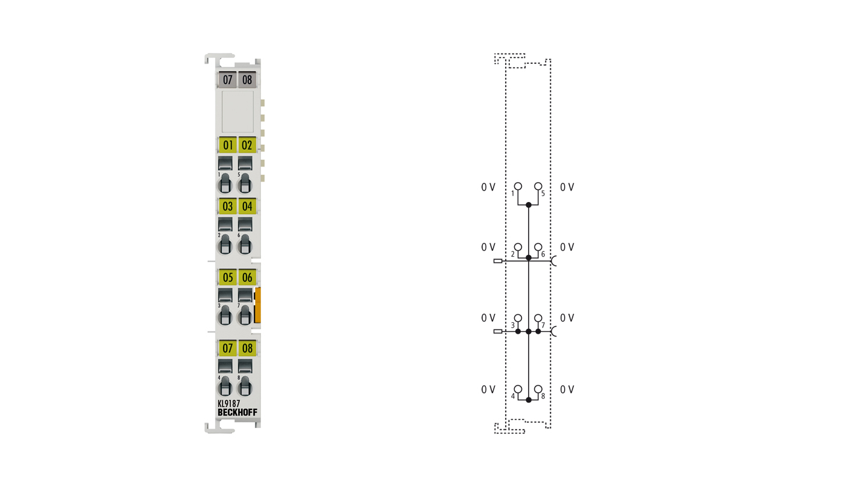 KL9187   Potential distribution terminal, 8x 0VDC