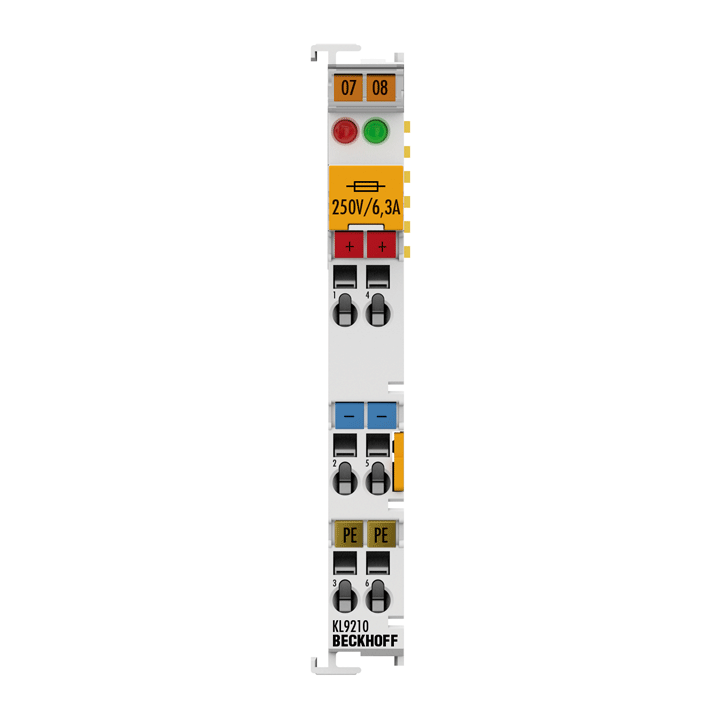 KL9210 | Potential supply terminal, 24 V DC, with diagnostics and fuse