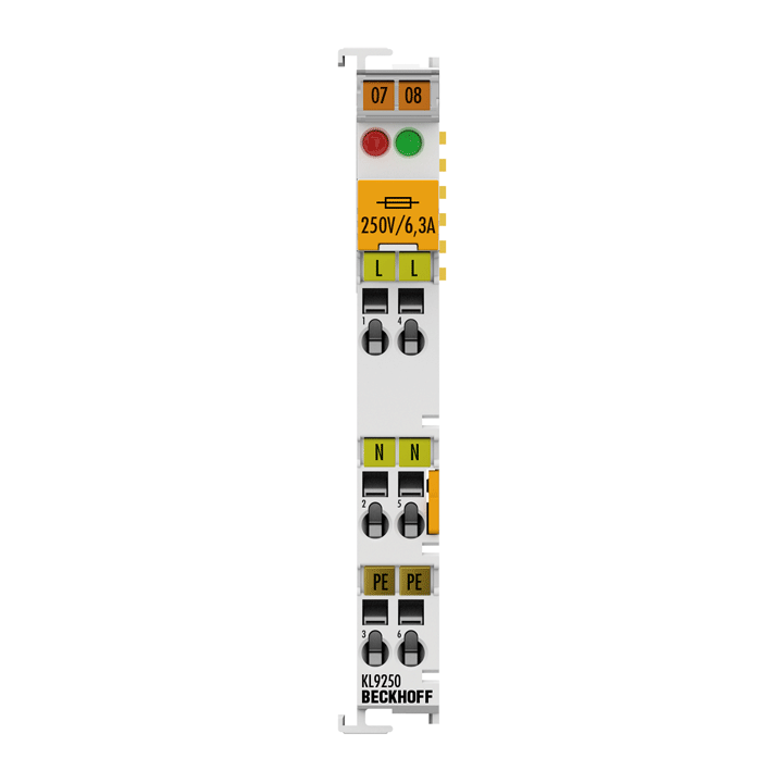 KL9250 | Potential supply terminal, 120…230 V AC, with fuse
