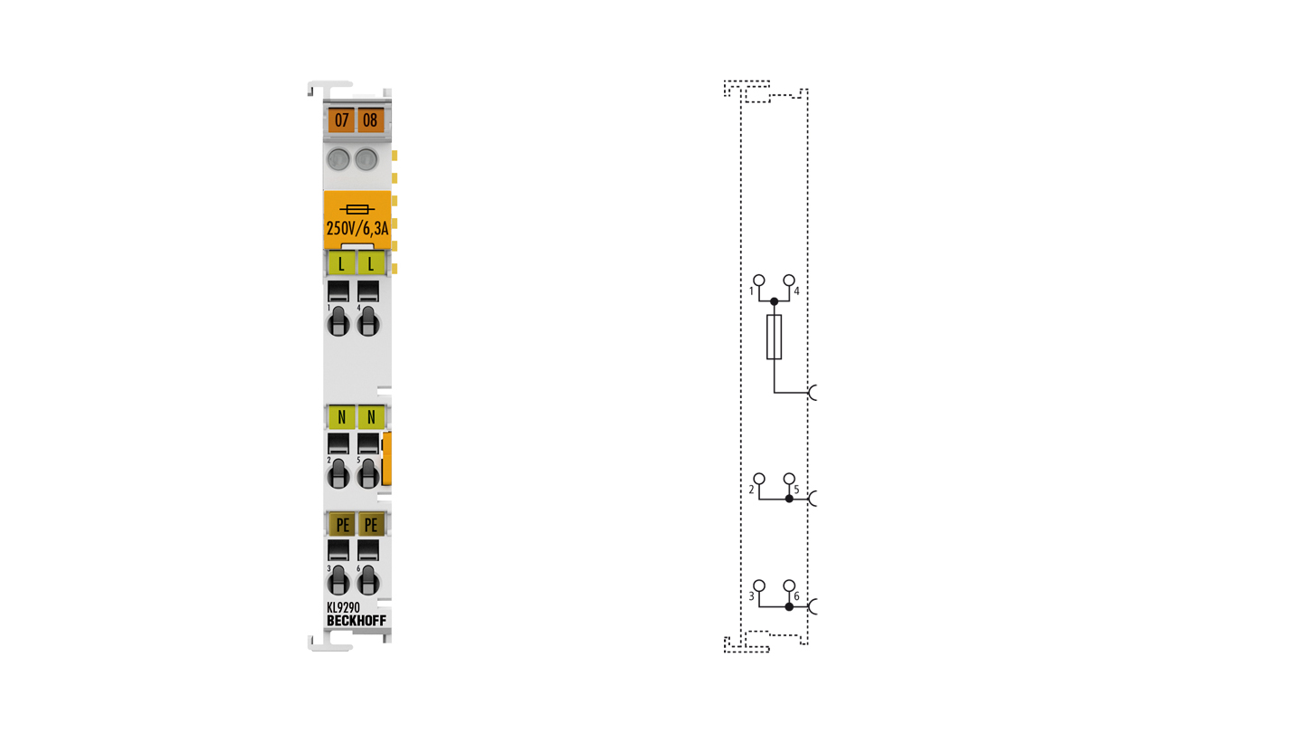 KL9290 | Potential supply terminal, any voltage up to 230 V AC, with fuse