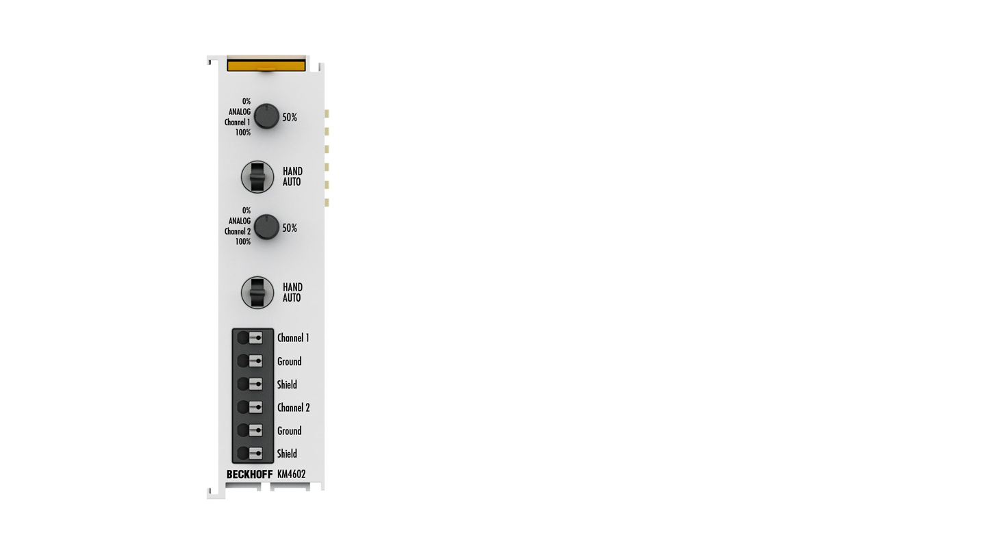 KM4602 | Bus Terminal module, 4-channel analog output, voltage, 0…10V, 12bit, single-ended, manual/autom. operation