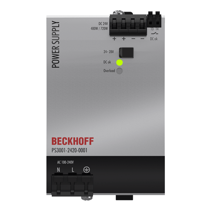 PS3001-2420-0001   Power supply PS3000; output: 24VDC, 20A; input: AC100…240V/DC110…150V, 1-phase
