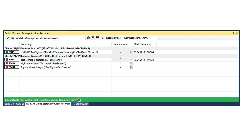 TF3520 | TwinCAT 3 Analytics Storage Provider
